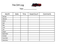 Daycare Fire Drill Log Form
