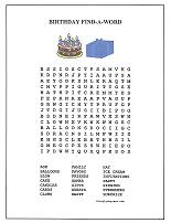 birthday word search