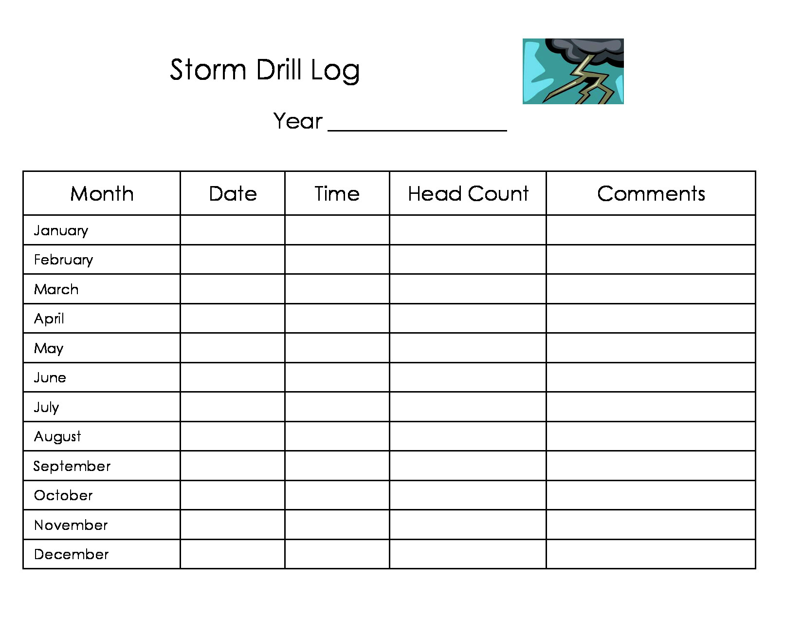 Daycare Storm Drill Log Form