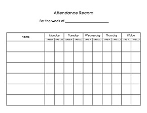 Printable Child Care Forms - Attendance Records