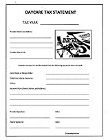 Daycare Tax Statement