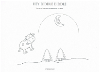 hey diddle diddle tracing page