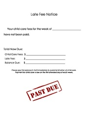 Printable Daycare Forms - Late Fee Notice on past due letter, tooth fairy letter, apology letter, pick up parent letter,