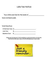 Daycare Late Fee Form