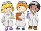 cartoon kids in lab