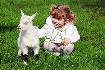 girl and baby goat