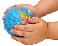 childs hands holding glob
