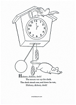 enjoy a coloring page that includes the rhyme or have the children make clock hands for one oclock and color the picture
