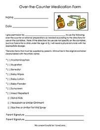 Daycare Over-the-Counter Medication Form