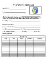 Daycare Prescription Medication Form