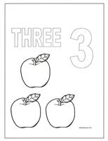number coloring pages on number three coloring pages